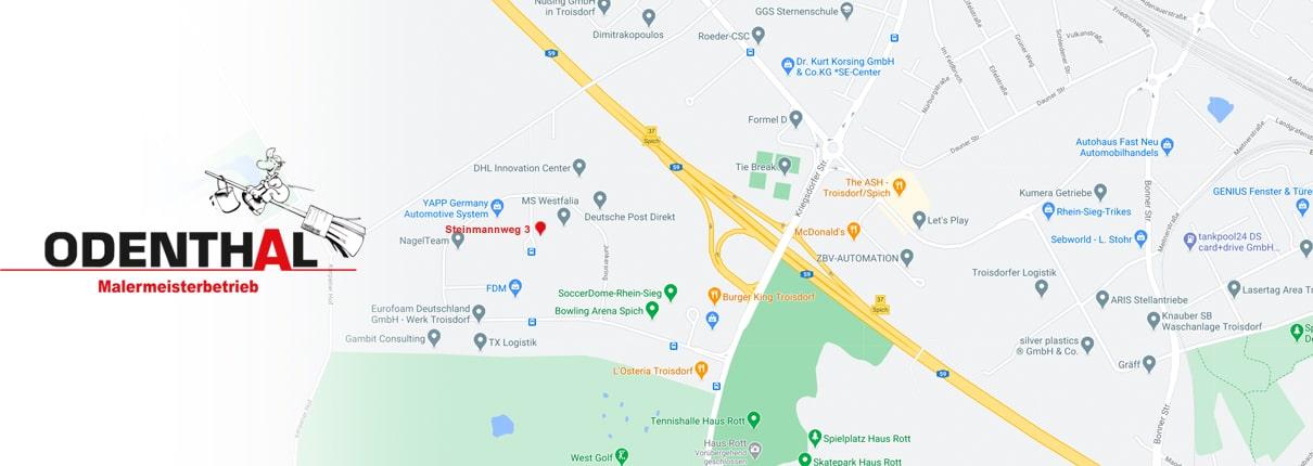 Kontakt Malerbetrieb Odenthal in Troisdorf Anfahrt